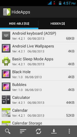 Hideapps Google Android