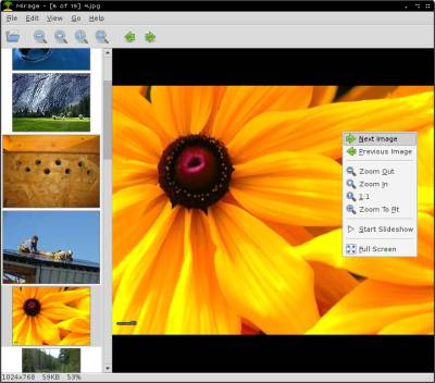 Mirage image viewer for Linux Raspberry Pi