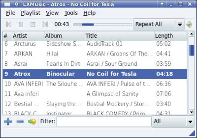 LXMusic Fast Free Simple Lightweight Linux Music Player Software