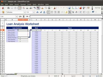 LibreOffice Calc spreadsheet program
